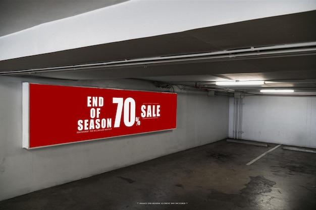 Poster billboard in underground parking lotpsd billboard template