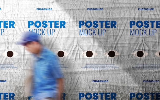 Poster on cast shadow wall mockup