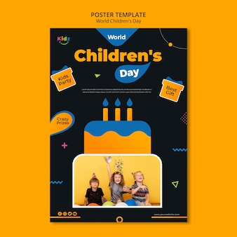 Poster children's day ad template