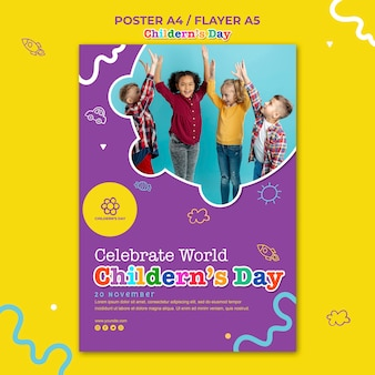 Poster children's day template