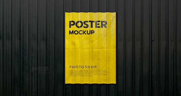 Poster on container metal wall mockup realistic