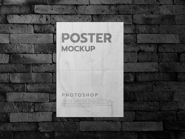 Poster on a dark brick wall background