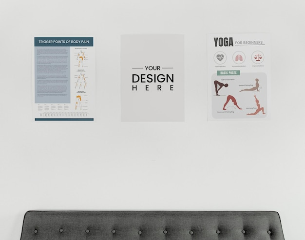 Poster design mockups on a white wall