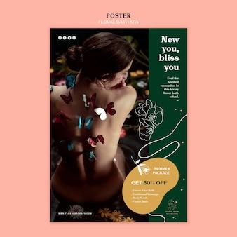 Шаблон рекламного плаката цветочный спа