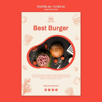 バーガーレストランのポスター