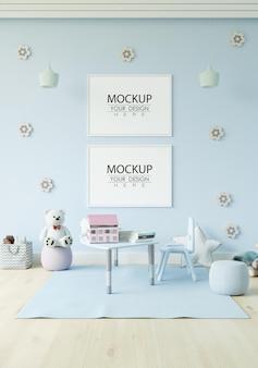 Poster frame in children's bedroom mockup