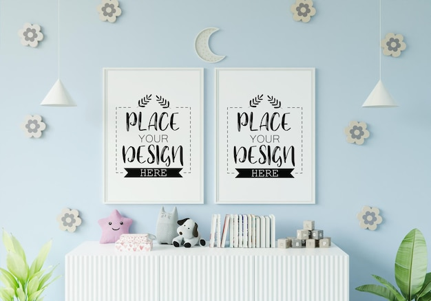Poster frame in children's bedroom mockup