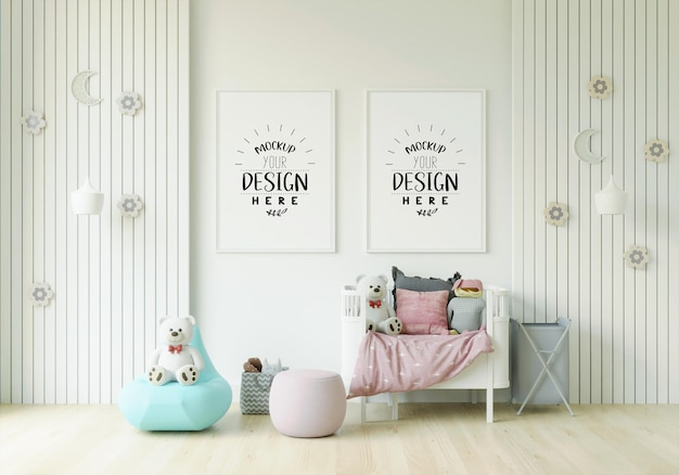 Cornice poster in mockup camera da letto per bambini
