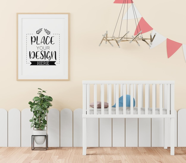 Poster frame in children's bedroom psd mockup