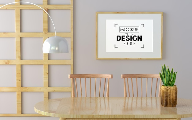 Poster frame in dining room mockup