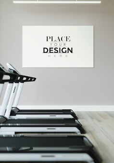 Poster frame in fitness gym mockup