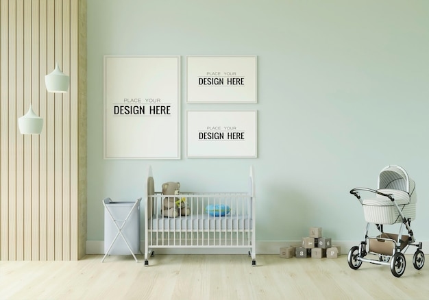 子供の寝室のモックアップのポスターフレーム
