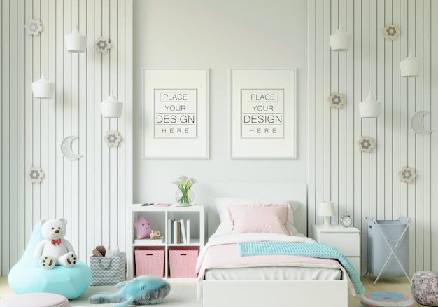 어린이 침실 모형의 포스터 프레임