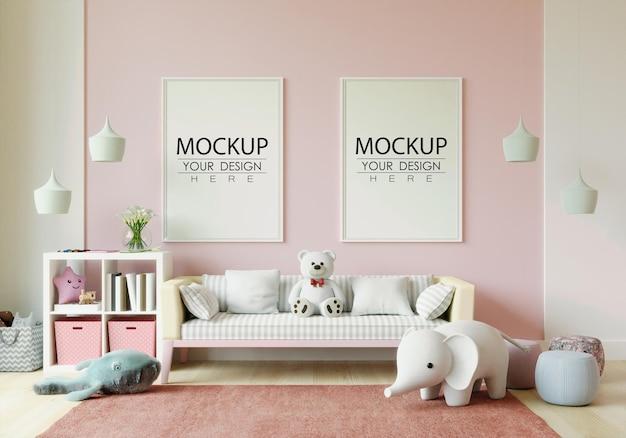 Рамка для постера в макете детской спальни