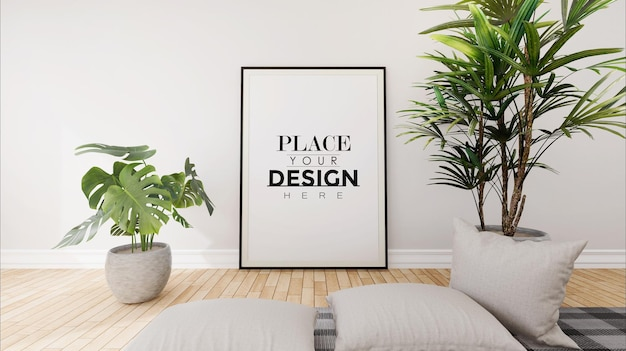 Рамка для плаката в макете гостиной