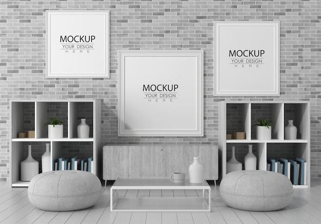 居間のポスターフレームpsdモックアップ