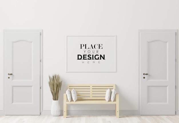Рамка для плаката в гостиной psd mockup Бесплатные Psd