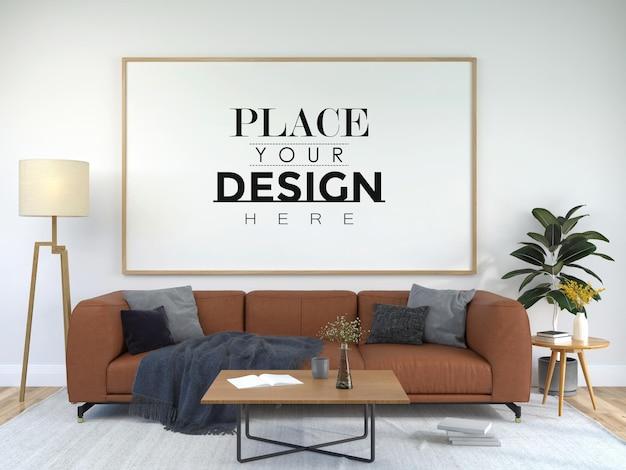 Рамка для плаката в гостиной psd mockup