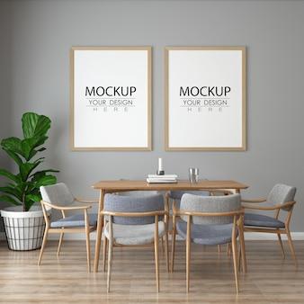 Poster frame in living room mock up