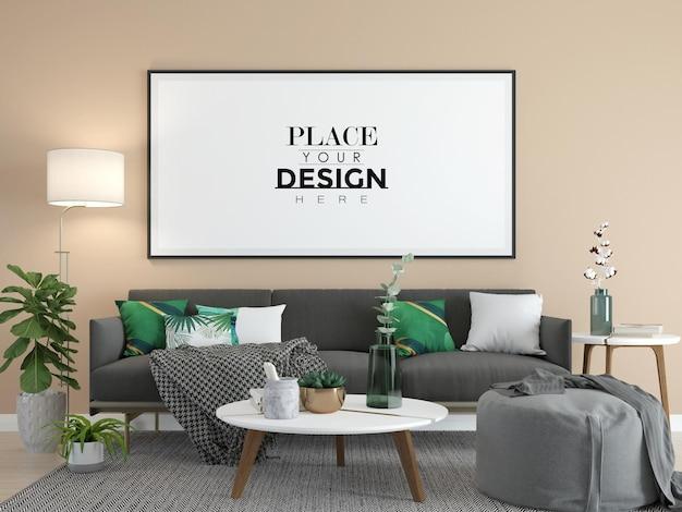 Cornice poster in soggiorno mock up