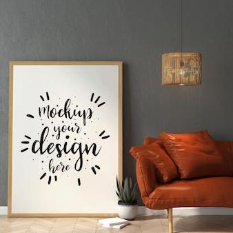 Cornice per poster nel mockup del soggiorno