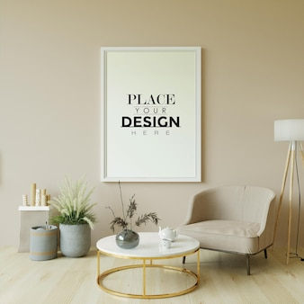 Poster frame in living room mockup