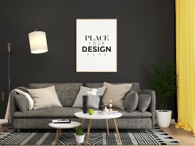Cornice poster in soggiorno mockup