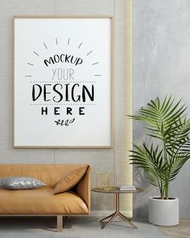 Poster frame in living room  mockup Free Psd