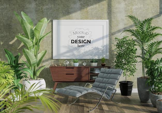 Cornice per poster in soggiorno mockup