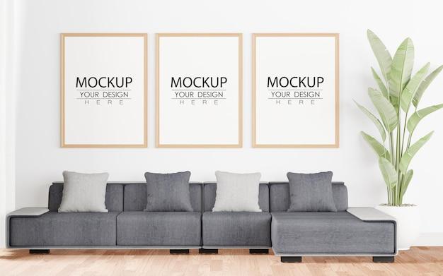Poster frame in living room psd mockup