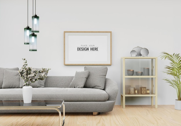 Poster frame in living room psd mockup