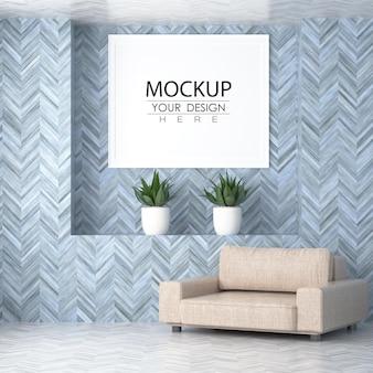 Poster frame in living room psd mockup Premium Psd