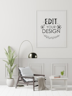 Poster frame in living room psd mockup Free Psd