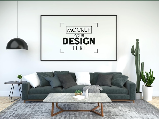 Poster frame in soggiorno psd mockup