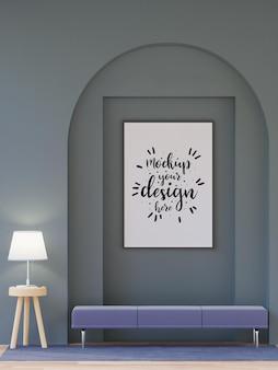 Cornice per poster in soggiorno psd mockup