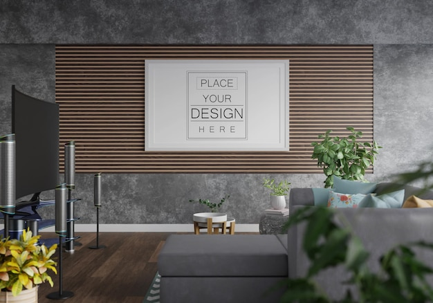 Poster frame in living room Free Psd