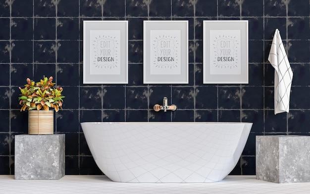 Poster frame mockup su bagno interno
