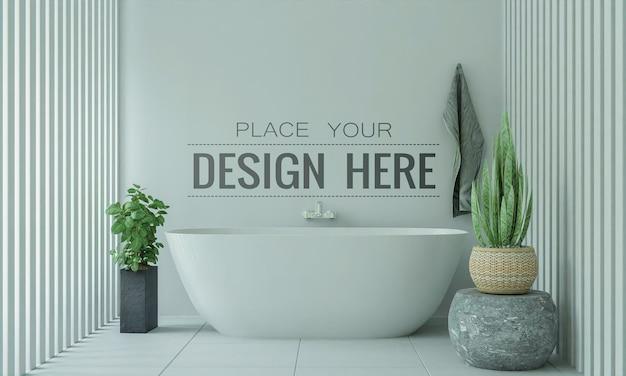 Poster frame mockup su bagno interno Psd Gratuite