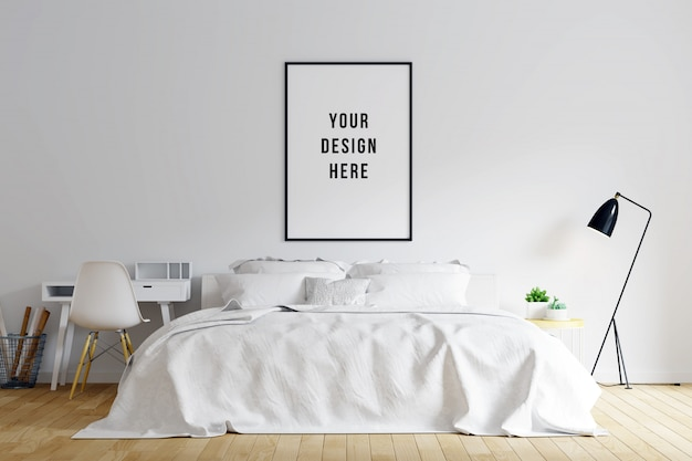 Poster frame mockup bedroom interior with decorations