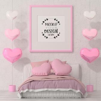 Poster frame mockup in una camera da letto
