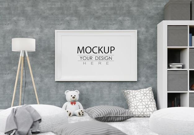Poster frame mockup in bedroom