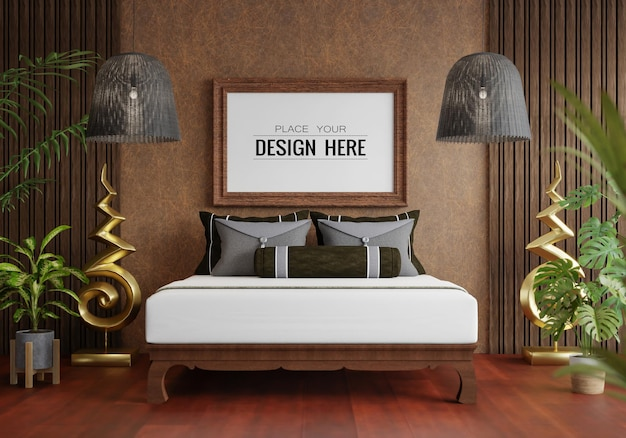 Poster frame mockup in a bedroom