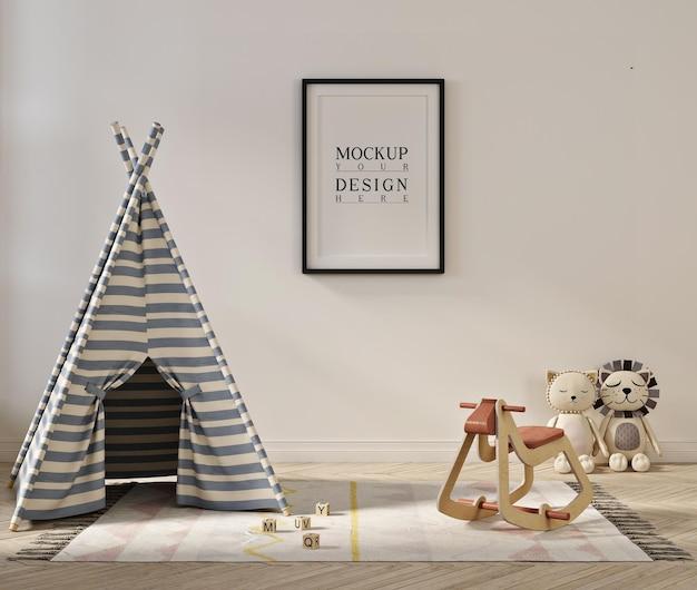 Poster frame mockup in cute playroom interior
