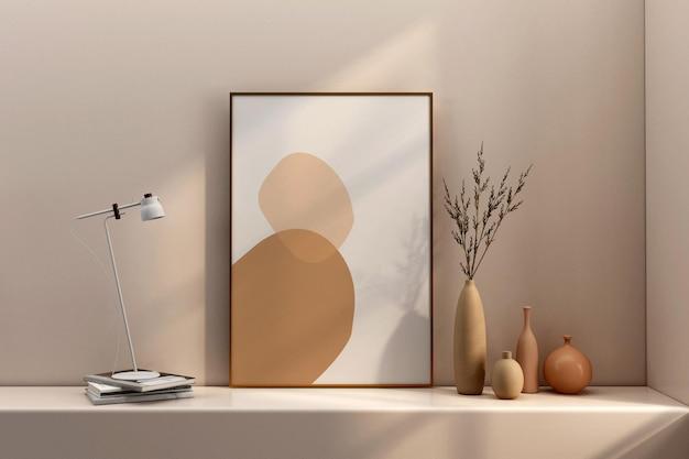 Poster frame mockup design in 3d rendering