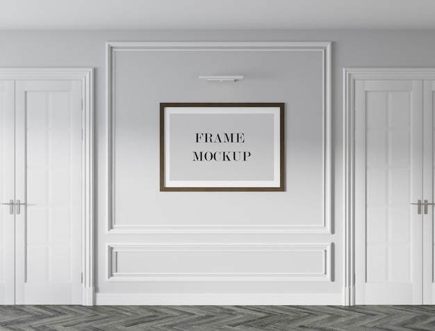 Poster frame mockup design in classic style interior