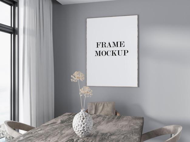 Poster frame mockup on grey wall