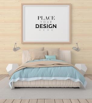 寝室のポスターフレームモックアップ