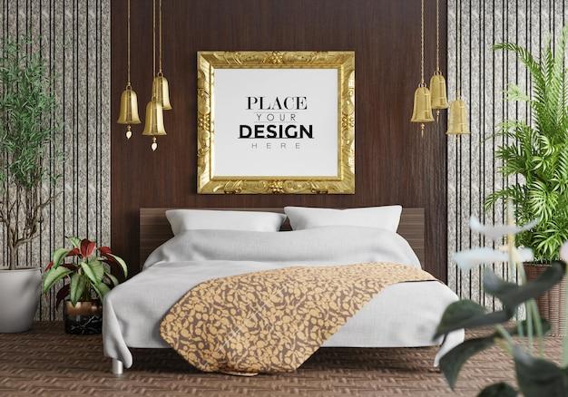 Мокап рамки постера в спальне