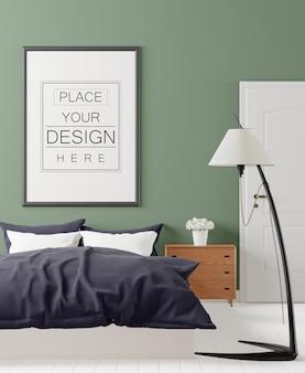 침실에서 포스터 프레임 모형
