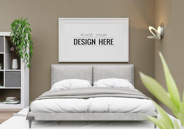 Макет рамки плаката в спальне
